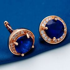 Pretty New Rose Gold Plated Round Blue CZ w/Accents Mini Hoop Style Earrings