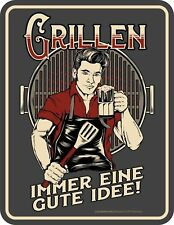 Men Fun Sign - Barbecuing - Immer One Good Idea - Retro Metal Sign Printed