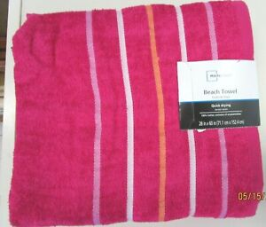 """BEACH TOWELS..PINK WITH STRIPES .28"""" X 60""""...100% COTTON"""