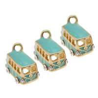 Gold Plated Alloy Tiny Blue Enamel Bus Pendants Craft Charms Findings 4X 50963
