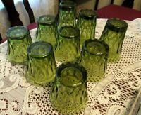 9 Vintage Green Glasses Thumbprint, Honeycomb
