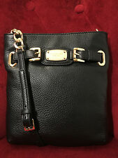 NWT MICHAEL KORS PEBBLED LEATHER HAMILTON LARGE CROSSBODY BAG IN BLACK