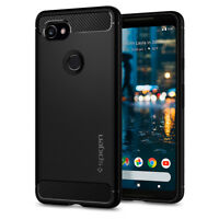 Spigen®Google Pixel 2 XL [Rugged Armor] Black Shockproof Carbon Fiber TPU Case