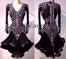 Women Ballroom Rumba Salsa Latin Smooth Dance Dress US 12 UK 14 Two Black Sliver
