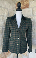 Vintage Saint Laurent Rive Gauche Women's Button Front Plaid Jacket Sz 38 Plaid