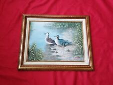 "Vintage Molard Duck Pair painting signed Justin 21"" x 17"""