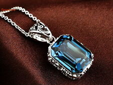 Antique Silver Black Filigree Square Drop Blue Sapphire Crystal Necklace N89