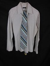 Men's White With Black Stripes Dress Shirt By 7 Diamonds Size L Long Sleeves