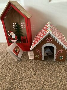 NEW TWO WOODEN CHRISTMAS DECORATIONS GINGERBREAD HOUSE AND LIGHT UP ORNAMENTS