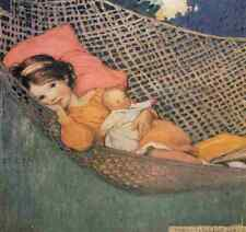 A4 Photo Willcox Smith Good Housekeeping Jul 1929 Relaxing in hammock Print Post