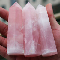 100% Natural Pink Rose Quartz Crystal Wand Point Healing Stone 50-60MM Gift