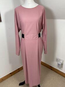 ASOS Tall - Dusky Pink Bodycon MIDI Dress Size 14 Long Knee Length Elastic Waist