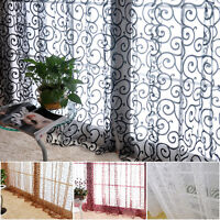 Sweet Floral Tulle Voile Window Curtains Solid Drape Sheer Door Room_Valances