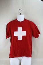 Mens Red Lifeguard Medic Doctor Nurse Cross Medical Short Sleeved T Shirt Size M