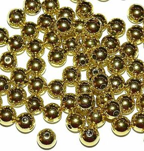 APL214 Gold 10mm Round Light Weight Plastic Metal-Plated Spacer Beads 60pc