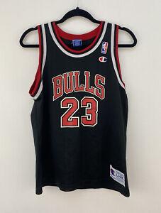 Michael Jordan #23 Chicago Bulls NBA Champion Black Jersey Youth L 14-16