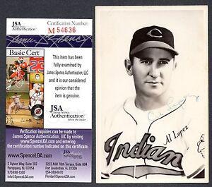 JSA Al Lopez Autograph Signed Postcard Cleveland Indians 2X All Star HOF TRB 015