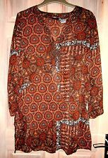 Brown Patterned Tunic/Kaftan Style Top Size 14