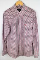 Henri Lloyd Men Casual Shirt Red Check Cotton size L