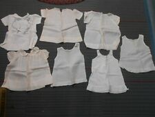 7 vintage baby girl / childrens white cotten dresses with lace and embroidery