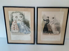 Lot de 2 gravures de mode parisienne - Bracquet... encadrées et vitrées - 1890