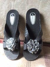 Essentials Black Slip On Sandals Size 8