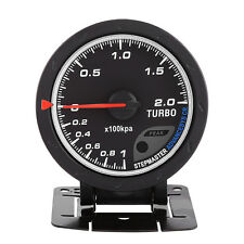60mm LED Turbo Boost Meter Gauge Black Shell For Auto Racing Car 0-200 Kpa TP