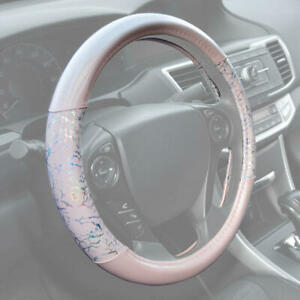 BDK Glitter Pink Cute Leather Steering Wheel Cover Non Slip Grip Universal Size