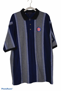 Antigua Baseball Polo Mens Chicago Cubs Gray and Navy Stripped Size XL