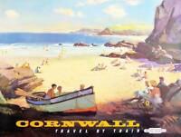 TRAVEL TOURISM CORNWALL BEACH COAST SEA BOAT SAND ROCK TRAIN UK POSTER BB9984