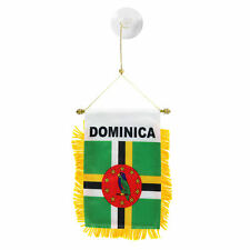 Dominica MINI BANNER FLAG CAR & HOME WINDOW MIRROR HANGING 2 SIDED