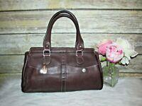Tignanello Brown Pebbled Genuine Leather Purse Tote HandBag Satchel Shoulder Bag