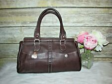 Tignanello Brown Pebbled Genuine Leather Purse Tote HandBag Satchel Shoulder Bag