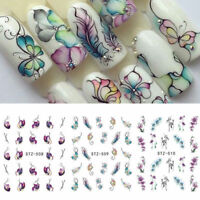 3 Sheets Flower Butterfly Nail Art Water Transfer Decals Stickers Tips DIY Nice