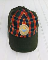 Vintage Cub Scout Webelos Plaid Uniform Hat Olive Green Embroidered Cap Snapback