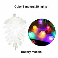 LED Fairy Light String Pine Cone Christmas Garland Outdoor Hanging Ornament