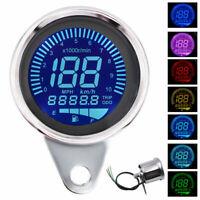 Speedometer LCD Digital Odometer Fuel Gauge Universal LED Motorcycle Tachometer