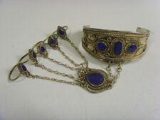 vintage Turkmen tribal Lapis Lazuli rings cuff bracelet belly dance ats 48870