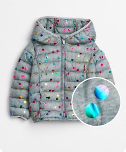 Baby Gap Print Puffer Jacket in grey dot color 3T NWT