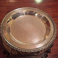 Lunt 157 Vintage Silver-plate Platter w/ Floral Border