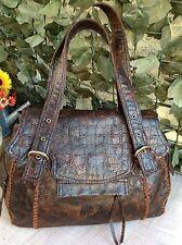 NEW Charlie Lapson Moc Croc Brown Large Satchel Carry Bag GORGEOUS!