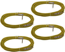 4 pack 20 ft foot Right Angle to Straight woven shielded guitar patch cord cable