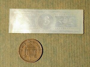 c1860 Long Rectangle Number 3 Chinese Carved Mother of Pearl Gaming Counter #L3