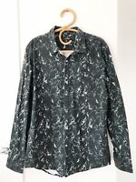 STUSSY Size L Black Tye Dye Style Long Sleeve Button Up Collared Casual Shirt