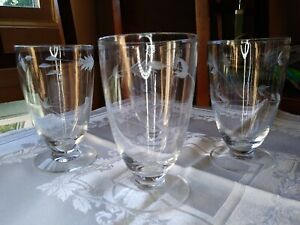 Vintage Elegant Glass - Footed Tumbler - Etched Vine Floral  LOT 4 Clear
