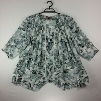 Jessica London Womens Size 24 Gray Floral Short Sleeve Pleats Pullover Top Soft