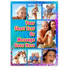 Personalised Pink Blue Water Effect Collage Photo Message A5 All Occasion Card