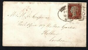 GB QV 1855 1d Red p16 Cover Birmingham 75 spoon cancel to London