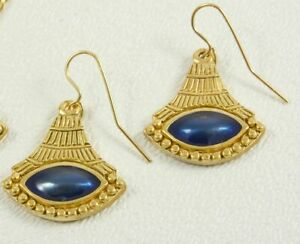 MANUFACTURED IN USA - Museum Reproduction of Egyptian Lotus Earrings Gold Plate