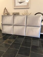 FUN BEDHEADS Queen Size Silver Velvet Panel Upholstered Bedhead